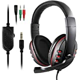 JAMSWALL Stereo Gaming Headset for Xbox one PS4-3.5mm Wired Over-Head Stereo Gaming Headset Headphone with Mic Microphone, Volume Control for PS4 PC Tablet Laptop Smartphone Xbox One (Black with red)
