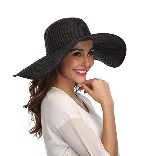 dd1b04e8f8c3b Lanzom Womens Wide Brim Straw Hat Floppy Foldable Roll up Cap Beach Sun Hat  UPF 50
