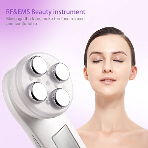 Price comparison product image U-Kiss 5 in 1 RF Radio Frequency & EMS Electric Muscle Stiulation Beauty Instrument Sonic Skin Facial Cleaning Brush