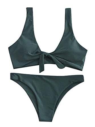 SweatyRocks Women's Sexy Bikini Swimsuit Tie Knot Front Swimwear Set Green S