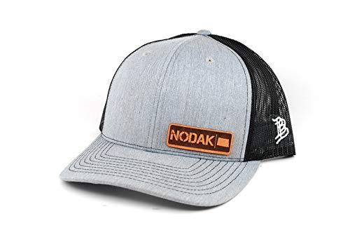 Branded Bills 'North Dakota Native' Leather Patch Hat Curved Trucker- OSFA/Heather Grey/Black