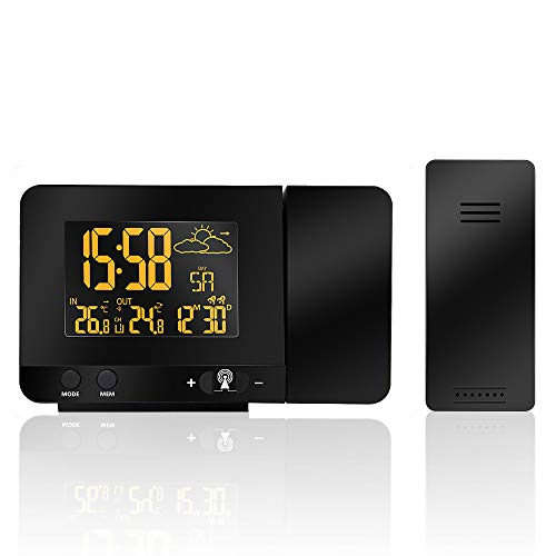 - LCD Digital Projection Alarm Clock Radio-Controll Weather Station Projection Clock with Date Dual Alarm Snooze Function
