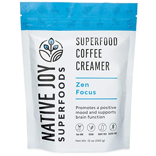 Native Joy Superfoods - Zen Focus Coffee Creamer - L-Theanine, Chaga Mushroom & MCT's | Non Dairy | Vegan | Paleo | Gluten Free | Improve Focus & Reduce Anxiety (Best Powdered Coffee Creamer)