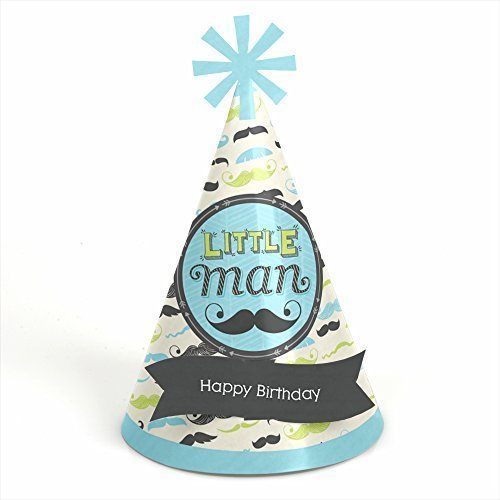 Dashing Little Man Mustache Party - Cone Birthday Party Hats