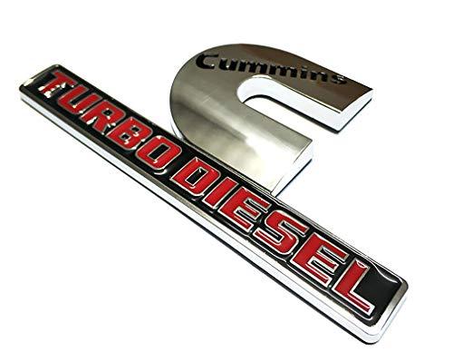 1x Chrome Cummins Turbo Diesel Emblem Badges High Output Replacement for RAM 2500 3500 Fender Emblem