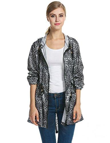 Waterproof Leopard Jacket Raincoat Coat Black Outdoor Meaneor Women's Rain Printed Lightweight Oq7PUFUAZ