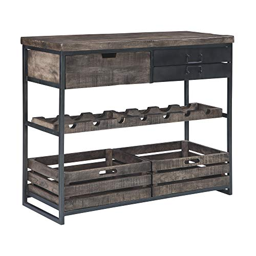 (Ashley Furniture Signature Design - Ponder Ridge Accent Cabinet & Wine Rack - Solid Wood in Black/Gray Wash - Gunmetal Finished Metal - 3 Drawers/2 Removeable Bins)