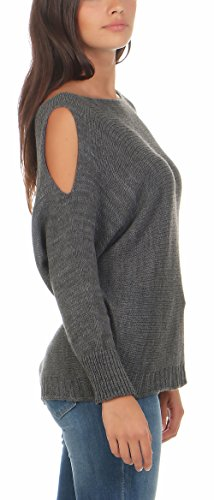 Could Unique Chandail Gris 7335 Malito Fonc Femme Shoulder Pullover Taille pqOxw61