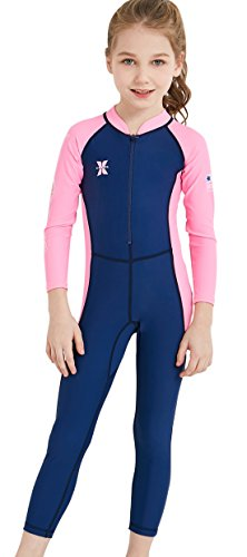 Kids Long Sleeve Swimsuit Rash Guard UPF 50+ UV Sun Protective Wetsuit Colorful Swimwear Swimming Suit Navy L -