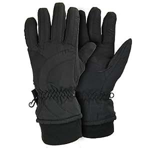 Women's Microfiber Winter Ski Gloves - Black - Medium