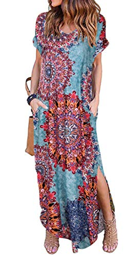 Women's V Neck Floral Printed Maxi Dress Summer Short Sleeve Split Casual Loose Long Beach Dresses with Pockets (Flower Mix Blue, S) -