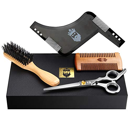 Beard Grooming Kit-4 in 1 Beard Trimming Set with Beard Brush,Beard Comb,Shaping Tool and Beard Scissors for Men