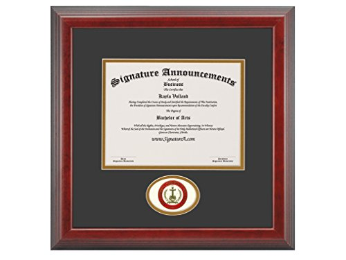 Signature Announcements Mid-America Christian University (MACU) Undergraduate and Graduate/Professional/Doctor Graduation Diploma Frame with Sculpted Foil Seal (Cherry, 16 x 16) by Signature Announcements