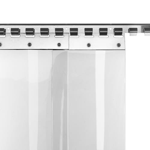 resistente a la intemperie completamente premontada rieles de montaje galvanizados Cortina de fleje de PVC Cortina el/ástica industrial de 2x200 mm transparente protecci/ón contra salpicaduras
