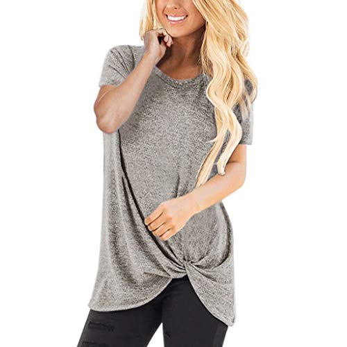 HIRIRI Summer Soft Loose Women's Tops Twist Knotted Blouses Short Sleeve Round Neck Tunic T Shirt Light Gray