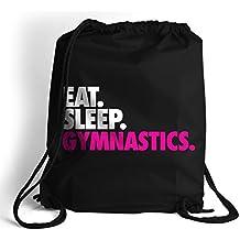 Eat. Sleep. Gymnastics. Cinch Sack   Gymnastics Bags by ChalkTalk SPORTS   Black