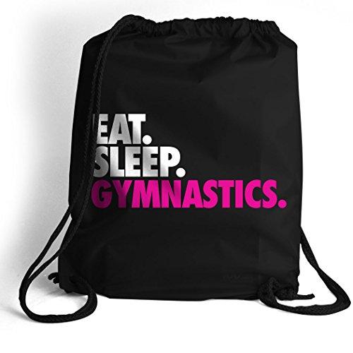 Eat. Sleep. Gymnastics. Cinch Sack | Gymnastics Bags by ChalkTalk SPORTS | Black by ChalkTalkSPORTS