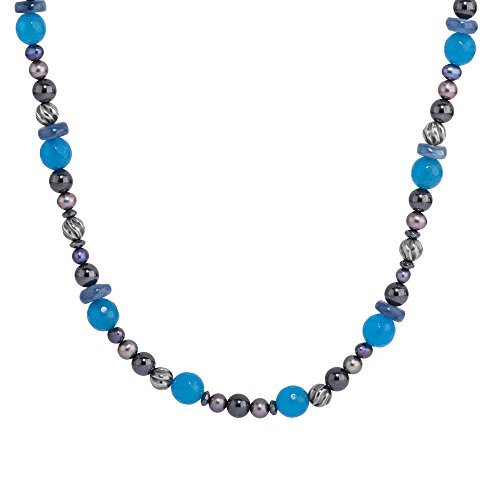 Carolyn Pollack Sterling Silver Hematite, Blue Kyanite, Blue Agate and Peacock Pearl Gemstone Beaded Necklace 32 - Agate Necklace Beaded Blue