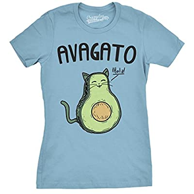 Womens Avagato Funny T shirts Avocado Cat Tee Cute Cat Face Shirt Novelty T shirt