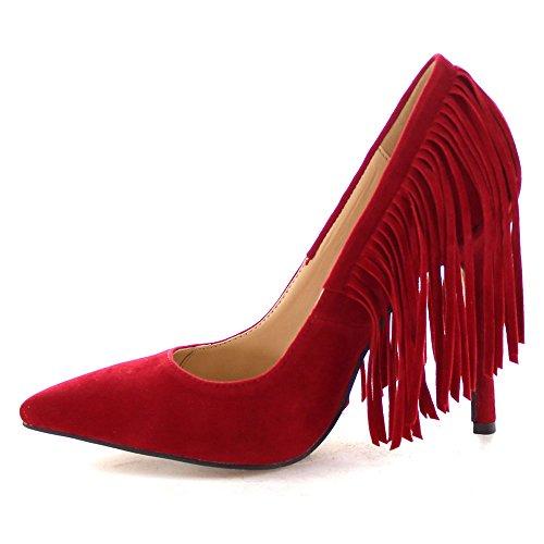Chase & Chloe Plaza-5 Scarpe Da Donna Con Tacco A Punta E Frange Stiletto, Colore: Rosso, Misura: 6.5