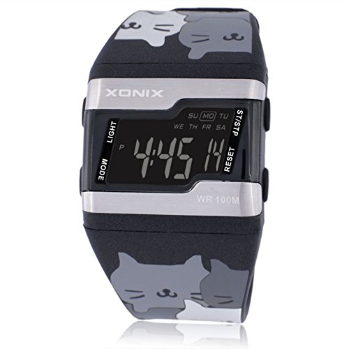 Children's large square face jelly watch,Multi-function digital electronic Led 100 m waterproof calendar alarm stopwatch girls or boys fashion wristwatch-A by CDKIHDHFSHSDH
