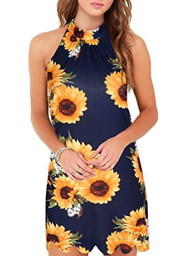 Fantaist Sun Dress,Halter Neck Shift Scalloped Short Summer Dresses for Women Party Wedding (L, FT610-Sunflower) ()
