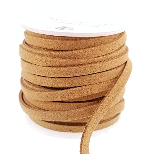 Tan Velvet Cord - Tan Light Brown Fabric Faux Suede Cord Flat Vegan Leather Bulk Spool for Crafts, Jewelry Making (5mm)