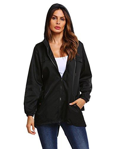 Meaneor Blouson Femme Veste  Capuche Manteau Automne Coupe-Vent Casual Jacket Noir
