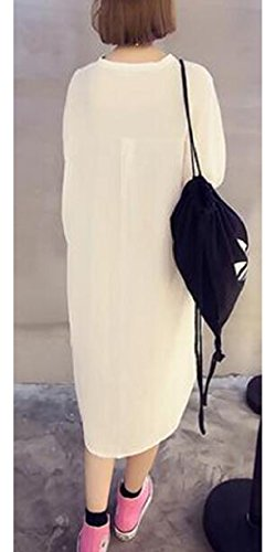 Loose V White Jaycargogo Dress Neck Fashion Color Womens Mid Long Solid Fit POAnAEr