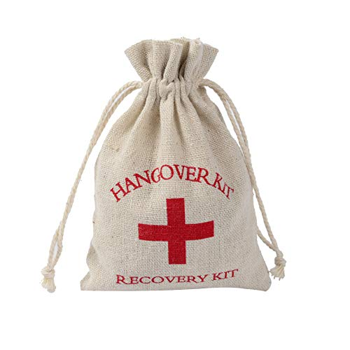 Hangover Kit Bags, 10PCS 4x6 Cotton Muslin Red Cross Bachelorette Party Aid Survival Drawstring Bags Bridesmaid Gifts Bags Wedding Welcome Bags ()