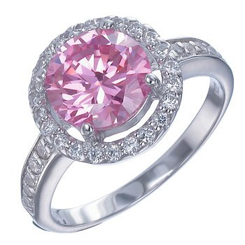 Vir Jewels Sterling Silver Pink and White CZ Ring In Size 7