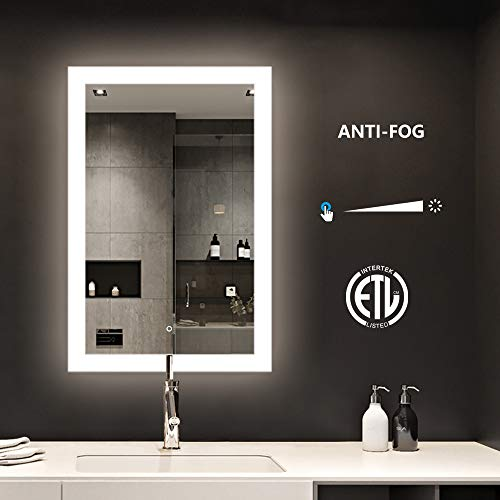 Backlit Light LED Mirror with ETL Certification, Bathroom Makeup Vanity Lighted Anti-Fog Mirror with Touch Button and Dimmer Light-24 WX36 H