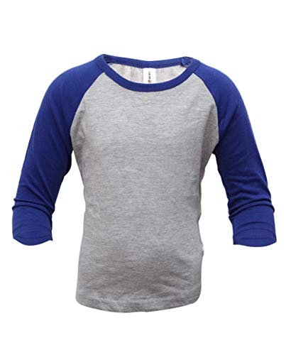 Royal Blue Football T-shirt - ILTEX Kids Baseball Raglan T-Shirt 3/4 Infant/Toddler/Youth (6 Years, Heather Gray/Royal Blue)