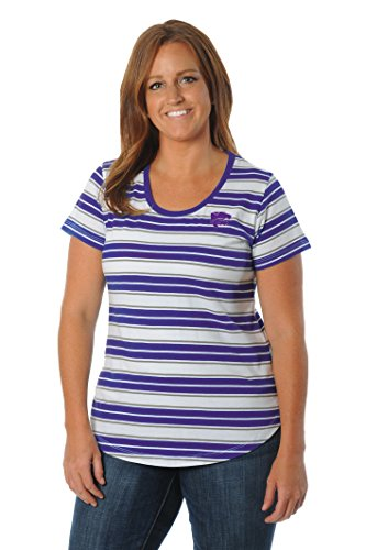 NCAA Kansas State Wildcats Women's Plus Size Tailgate Tee, 1X, Purple/White
