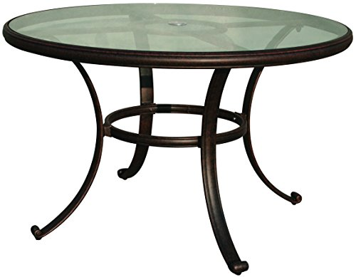 Darlee Cast Aluminum Glass Top Round Dining Table, 48'', Antique Bronze Finish 48' Round Cast Table