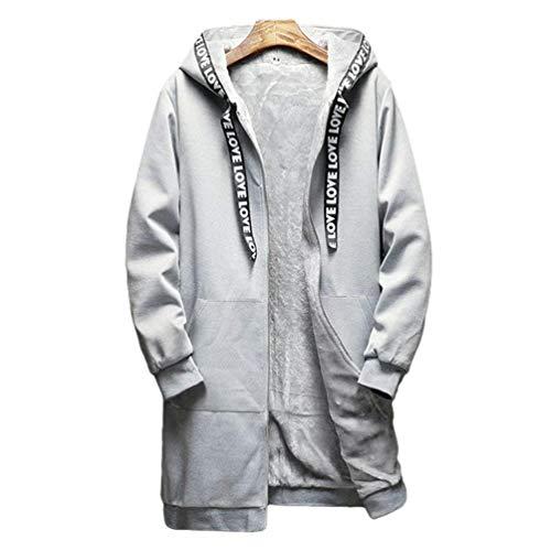 Uomini Rm Di Parka Svago Caldo Lungo Cappuccio Abbigliamento Giacca Grau Con Addensare Invernale Degli Cappotto Inferno z8T47