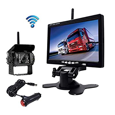 """Eversecu Waterproof Wireless Backup Camera and 7\"""" HD LCD Monitor Kit for RV/SUV/Van/Pickup/Truck/Trailer Rear/Side/Front View System Switchable: Car Electronics [5Bkhe0908168]"""