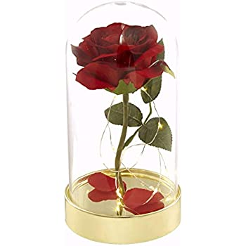 HOMESEASONS Enchanted Rose,Beauty and The Beast Red Rose Pre-Lit Silk Rose in Glass Dome (Metal Base)