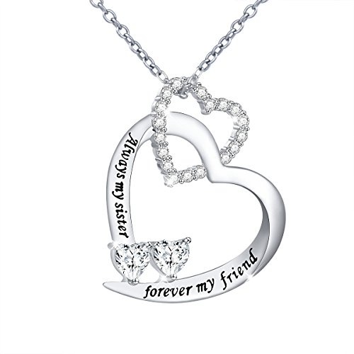 DAOCHONG Sterling Silver Sisters Necklace Always My Sister Forever My Friend Heart Pendant Necklace Gift for Sister (Heart 26