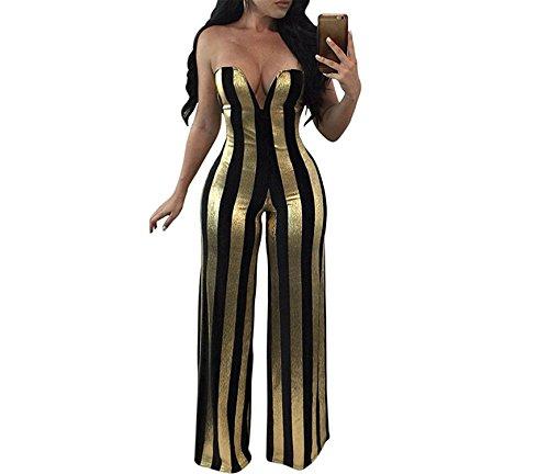 (LeNG Fashion Women Strapless Jumpsuit Bandeau Neck Sleeveless Stripe Playsuits Long Pants Black,X-Large,Black)