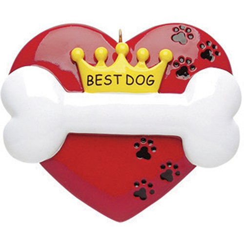 Personalized Best Dog Christmas Ornament for Tree 2018 - Red Heart with Bone Crown with Cute Paws - Good Puppy Breed Neutral Faithful Forever Furever Fluffy Holiday Aww- Free Customization