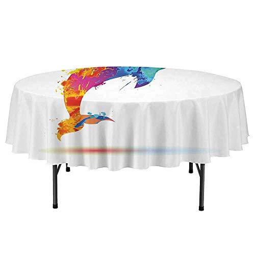 DouglasHill Dolphin Printed Round Tablecloth Multicolored Animal Design Watercolor Pattern Vibrant Ocean Mammal Image Print Desktop Protection pad D70 Inch Multicolor