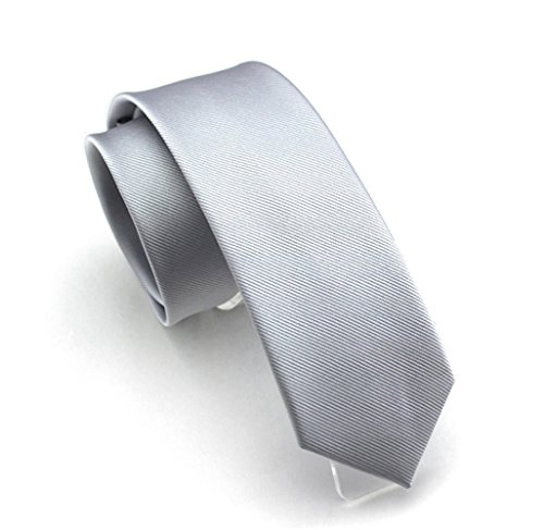 Solid Light Grey Color Slim Ties Pure Color Necktie Mens Ties 2.4'' (6cm)+ Gift Box