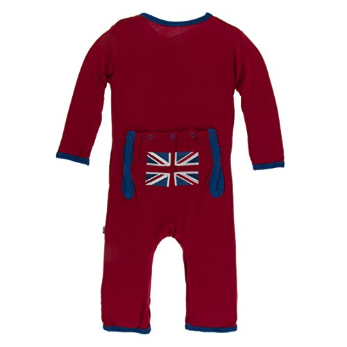 Kickee Pants Little Boys Applique Coverall with Zipper - Union Jack, 12-18 Months