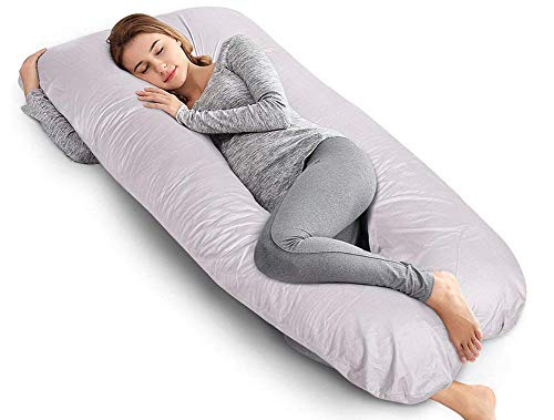 AngQi 60-inch Full Pregnancy Pillow, U Shaped Body Pillow, Maternity Pillow for Pregnant Women and Baby, with Washable Cotton Cover, Gray