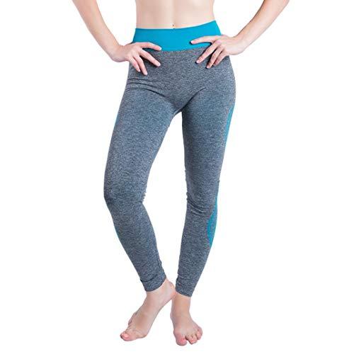 CICIYONER Mujeres Gym Yoga Patchwork Deportes Running Fitness Leggings Pantalones Pantalón Atlético Azul