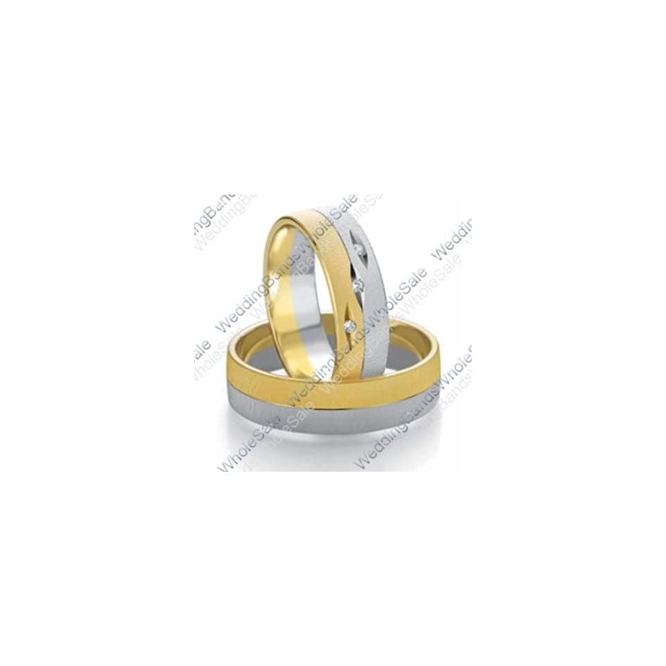 14k White & Yellow Gold 7mm Flat 0.03ct His & Hers Wedding Rings Set 241 Wedding Bands Wholesale Jewelry