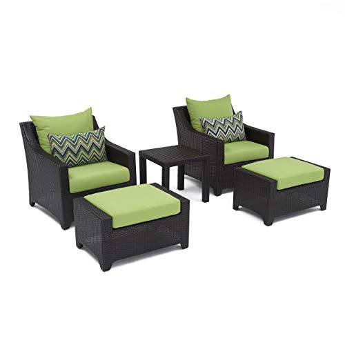 RST Brands Deco 5-Piece Club Chair and Ottoman Set with Cushions, Gingko Green
