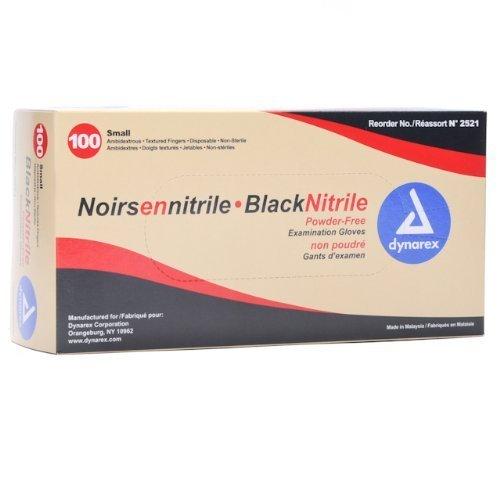 Dynarex D2521CS Nitrile Exam Gloves, Small, Black (Pack of 10)