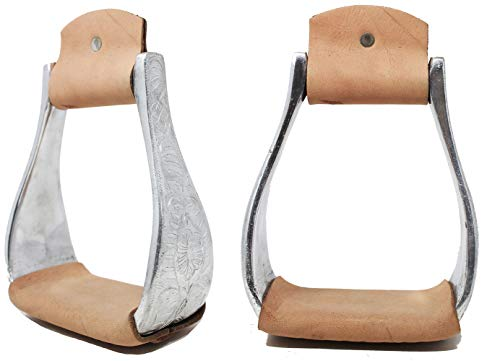 CHALLENGER Horse Saddle Western Engraved Lightweight Aluminum Stirrups Leather 51160